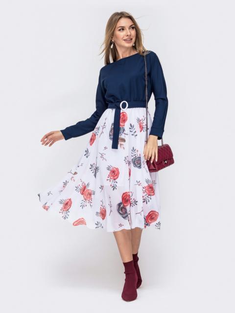 Платье с напуском по талии и принтованной юбкой тёмно-синее - 41386, фото 1 – интернет-магазин Dressa