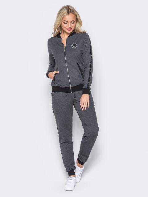 Серый спортивный костюм с декоративной тесьмой на брюках - 12002, фото 1 – интернет-магазин Dressa