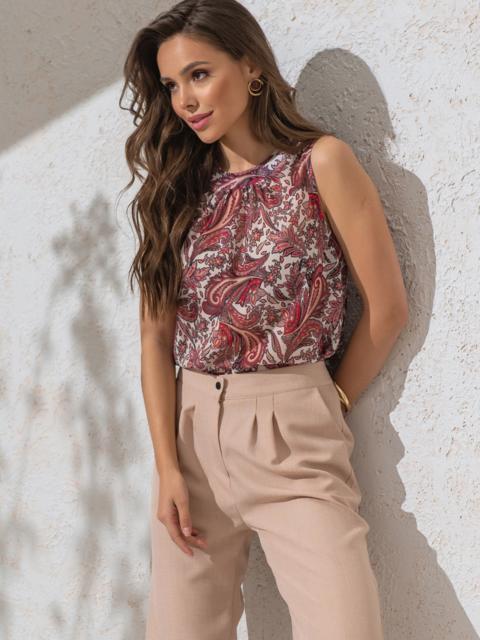 Шифоновая блузка с принтом и бантом на спинке красная - 49104, фото 1 – интернет-магазин Dressa