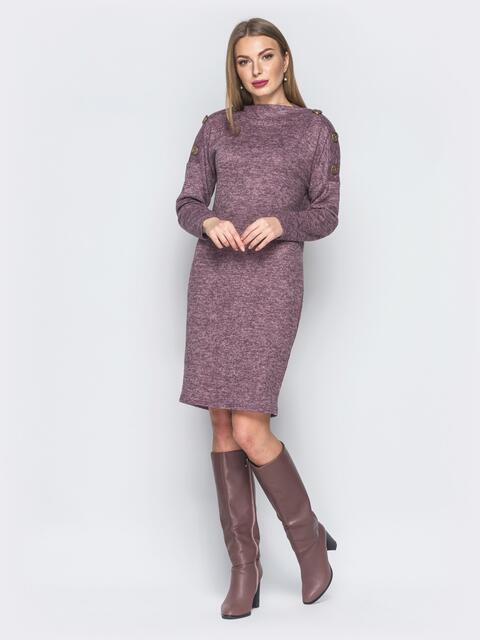 Трикотажное платье с функциональными пуговцами на рукавах розовое - 18765, фото 1 – интернет-магазин Dressa