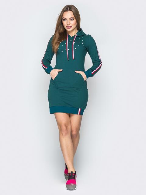 Зелёное платье с капюшоном на кулиске и лампасами - 19705, фото 1 – интернет-магазин Dressa