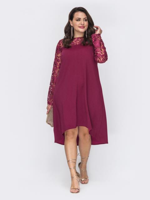 Бордовое платье-трапеция большого размера со шлейфом 52071, фото 1