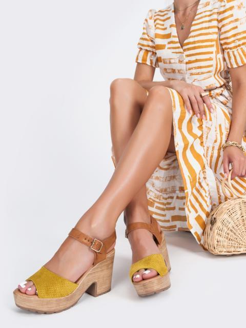 Босоножки из замши с перфорацией желтые - 45964, фото 1 – интернет-магазин Dressa
