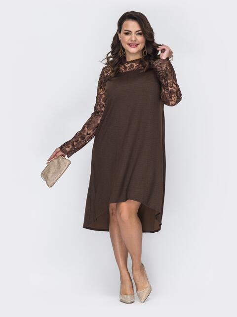 Коричневое платье-трапеция большого размера со шлейфом 52070, фото 1