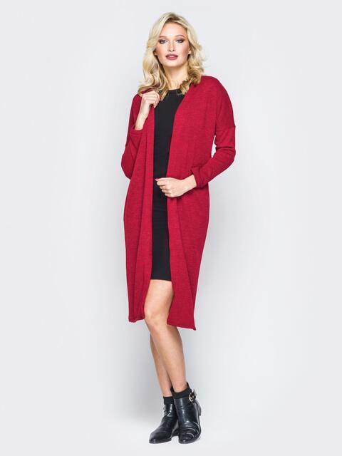 Красный комплект из платья-футляр и oversize кардигана - 19875, фото 1 – интернет-магазин Dressa