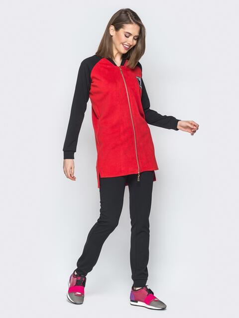 Красный комплект с удлиненной кофтой и рукавами реглан - 19872, фото 1 – интернет-магазин Dressa