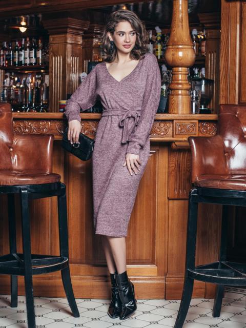 Платье из ангоры с фиксированным запахом розовое - 19223, фото 1 – интернет-магазин Dressa