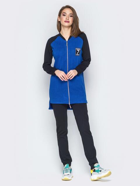 Синий комплект с удлиненной кофтой и рукавами реглан - 19871, фото 1 – интернет-магазин Dressa