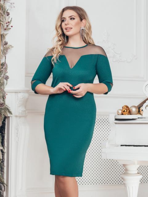Тёмно-зелёное платье батал с кокеткой из сетки с напылением - 43793, фото 1 – интернет-магазин Dressa