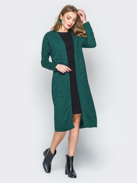 Зелёный комплект из платья-футляр и oversize кардигана - 19876, фото 1 – интернет-магазин Dressa