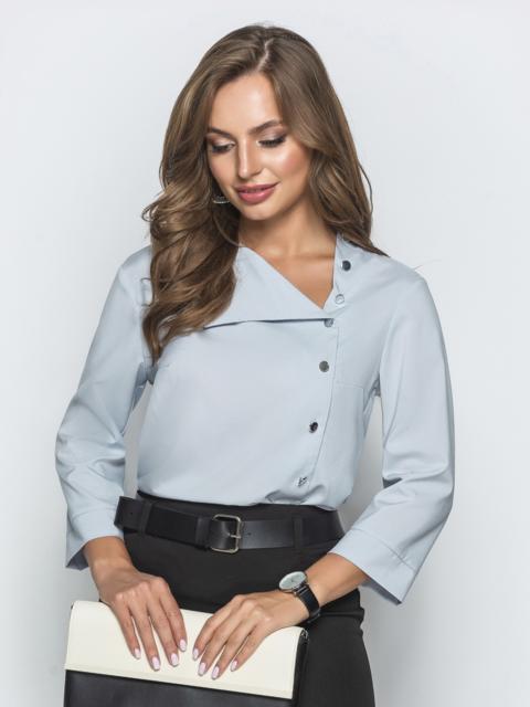 Блузка серого цвета с асимметричным вырезом 39658, фото 1