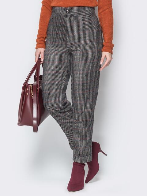Тёмно-серые брюки с завышенной посадкой и лампасами - 20149, фото 1 – интернет-магазин Dressa