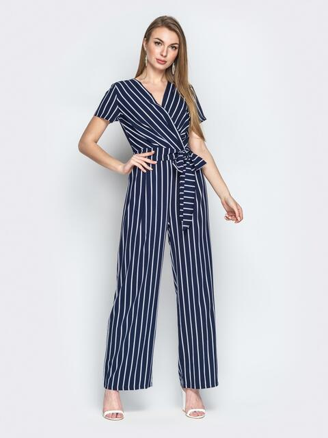 Тёмно-синий комбинезон в полоску с запахом и короткими рукавами - 20884, фото 1 – интернет-магазин Dressa