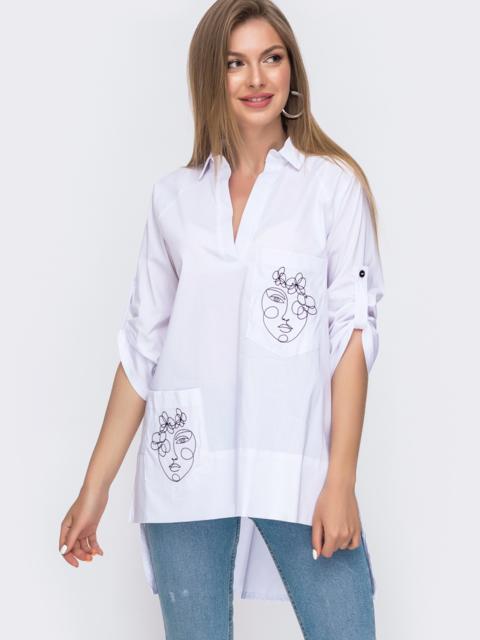 Белая рубашка с вышивкой на карманах и удлиненной спинкой 49460, фото 1