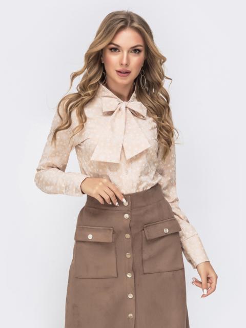 Блузка бежевого цвета с воротником-аскот 41583, фото 1