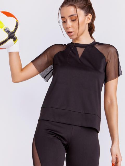 Чёрная футболка со вставками из сетки - 44454, фото 1 – интернет-магазин Dressa