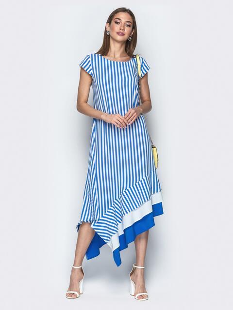 Голубое платье в полоску с асимметричным низом 21755, фото 1
