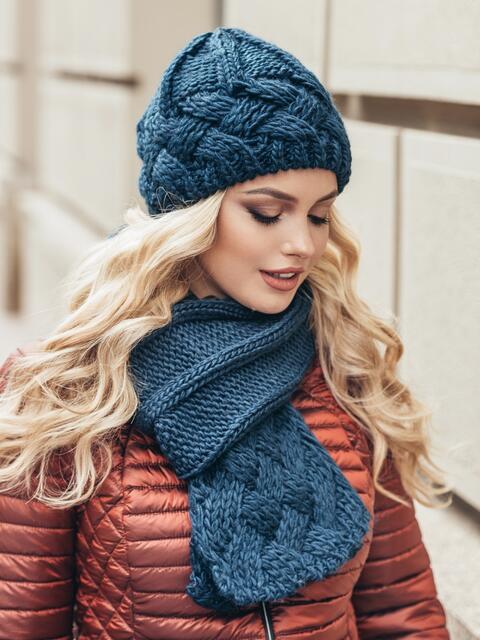 Комплект из шапки и шарфа темно-синий - 15565, фото 2 – интернет-магазин Dressa