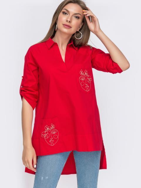 Красная рубашка с вышивкой на карманах и удлиненной спинкой 49461, фото 1