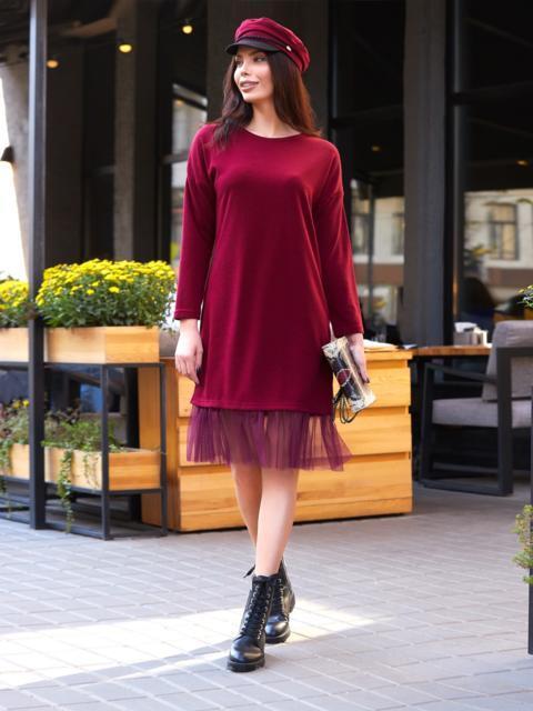 Платье бордового цвета из ангоры с фатином на подоле - 17571, фото 1 – интернет-магазин Dressa