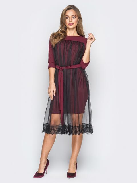 Платье из креп-дайвинга с фатином бордовое - 18345, фото 1 – интернет-магазин Dressa