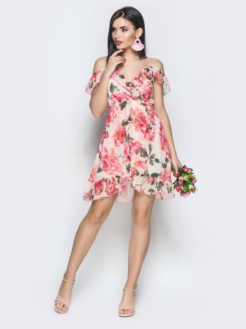 Принтованный сарафан с завышенной талией и запахом персиковый - 28570, фото 1 – интернет-магазин Dressa
