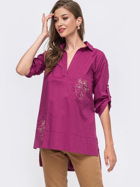 Розовая рубашка с вышивкой на карманах и удлиненной спинкой 49462, фото 1