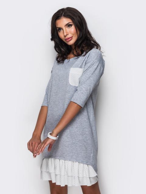 Серое платье с двухъярусной оборкой на полочке - 11509, фото 1 – интернет-магазин Dressa