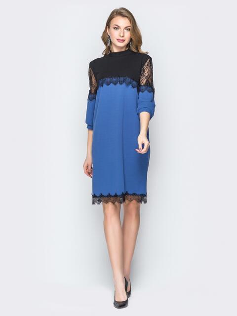 Синее платье с контрастной кокеткой и кружевом - 20032, фото 1 – интернет-магазин Dressa