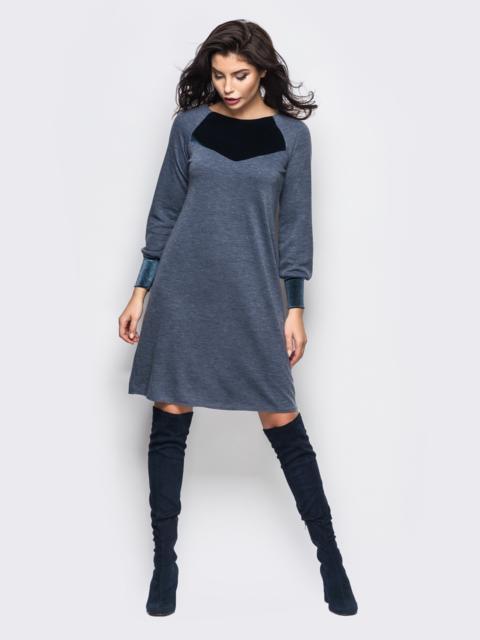 Синее платье-трапеция с манжетами из велюра 30651, фото 1