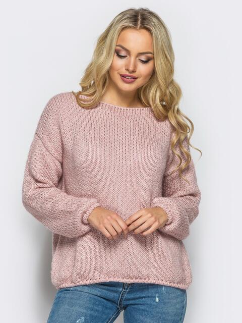 Свободный свитер со спущенным плечевым швом пудровый - 13038, фото 2 – интернет-магазин Dressa