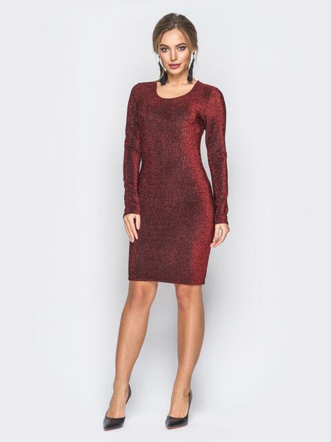 Трикотажное платье с нитью люрекса бордовое - 18329, фото 1 – интернет-магазин Dressa