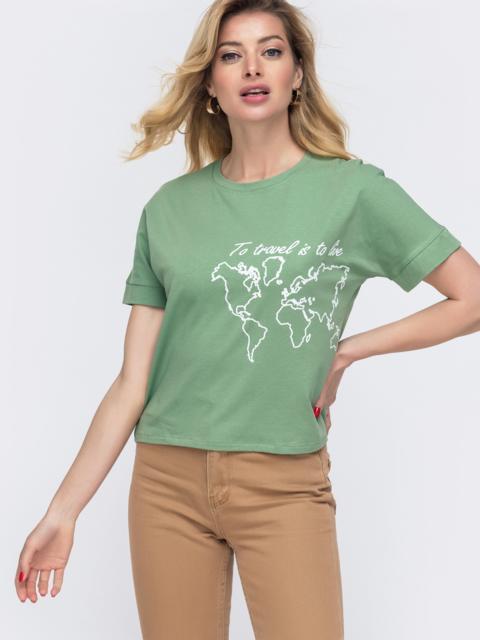 Зелёная футболка из хлопка с накаткой 48635, фото 1