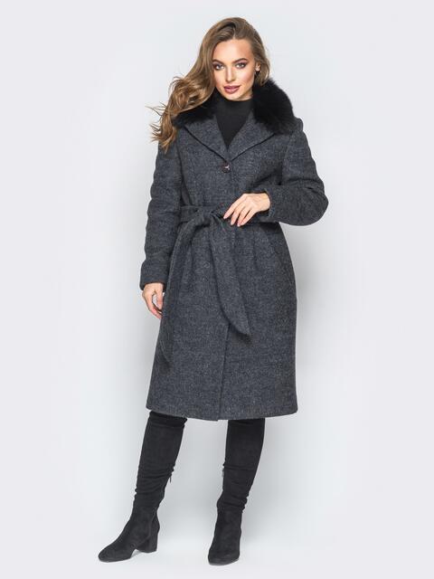 Зимнее пальто с натуральным мехом тёмно-серое - 18310, фото 1 – интернет-магазин Dressa