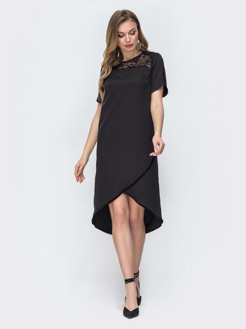 Чёрное платье с гипюровой кокеткой и удлиненной спинкой 45352, фото 1