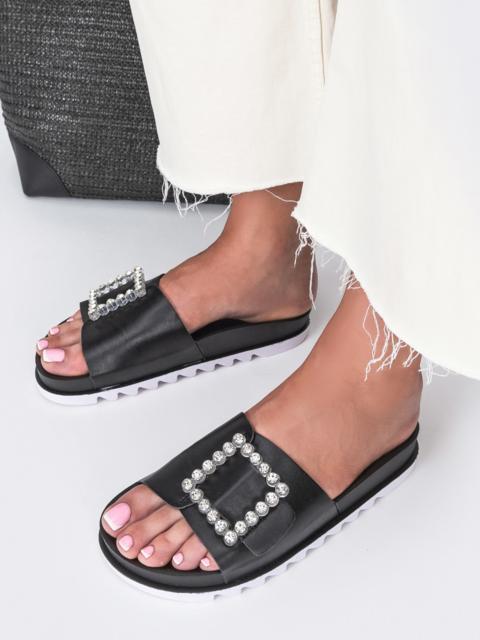 Чёрные шлепанцы с белой рельефной подошвой  - 49746, фото 1 – интернет-магазин Dressa