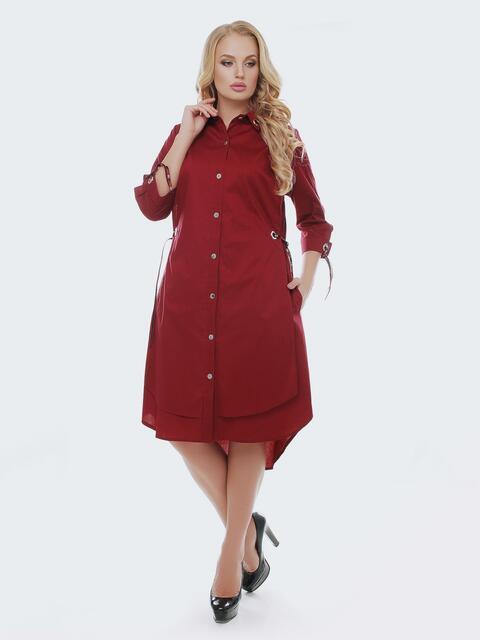 Двухслойное платье-рубашка с завязками на рукавах бордовое - 28456, фото 1 – интернет-магазин Dressa