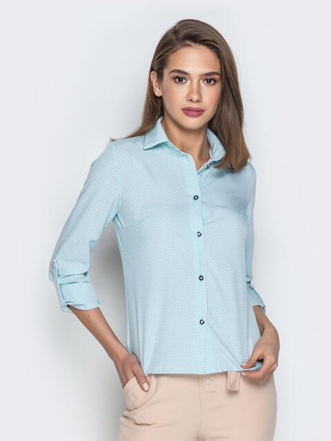 Классическая рубашка в горох голубая - 20807, фото 1 – интернет-магазин Dressa