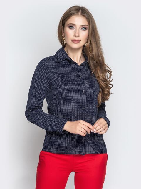 Классическая рубашка в горох тёмно-синяя - 20808, фото 1 – интернет-магазин Dressa
