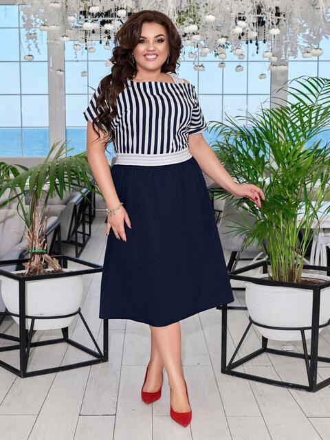 Комбинированное платье батал с верхом в полоску тёмно-синее 47686, фото 1
