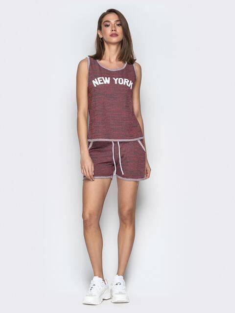 Меланжевый комплект из майки и шорт бордовый - 20810, фото 1 – интернет-магазин Dressa