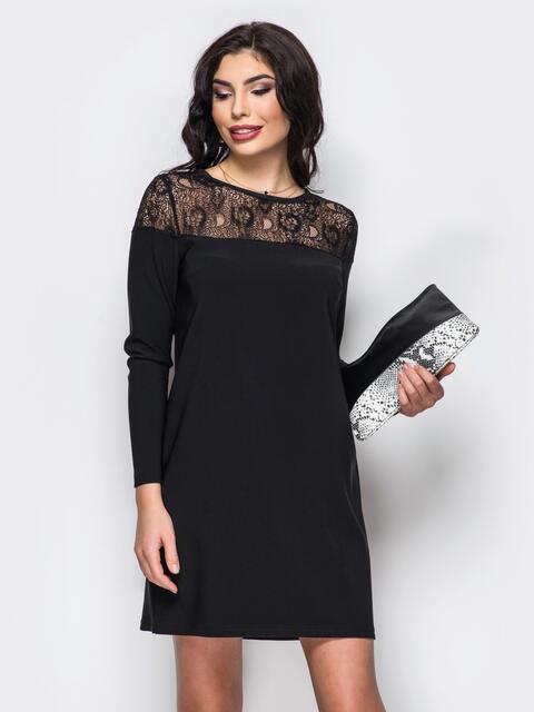 Платье черного цвета из костюмной ткани с гипюром - 18303, фото 1 – интернет-магазин Dressa