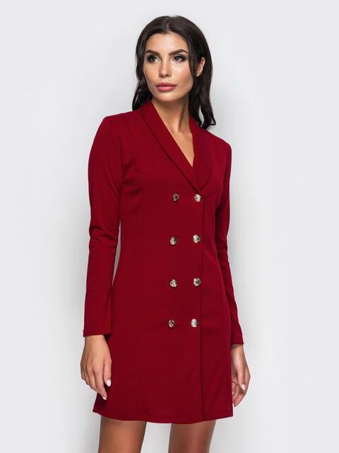 Платье-пиджак с функциональными пуговицами красное - 13764, фото 1 – интернет-магазин Dressa