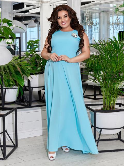 Приталенное платье-макси большого размера голубое 47694, фото 1