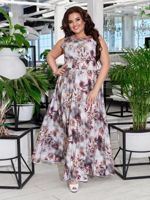 Приталенное платье-макси большого размера с принтом бежевое 47698, фото 1