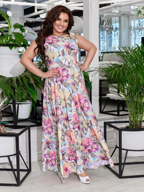 Приталенное платье-макси большого размера с принтом розовое 47696, фото 1