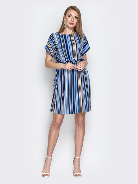 Синее платье в полоску с кулиской по талии - 20816, фото 1 – интернет-магазин Dressa