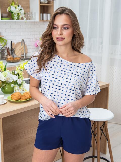 Синяя пижама из шорт и футболки с принтом 20424, фото 1