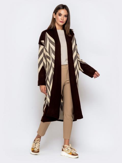 Вязаный кардиган коричневого цвета с контрастными вставками - 41193, фото 1 – интернет-магазин Dressa