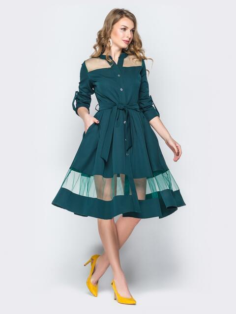 6f520d99922 Зелёное платье-рубашка с фатиновыми вставками 19669 – купить в Киеве ...